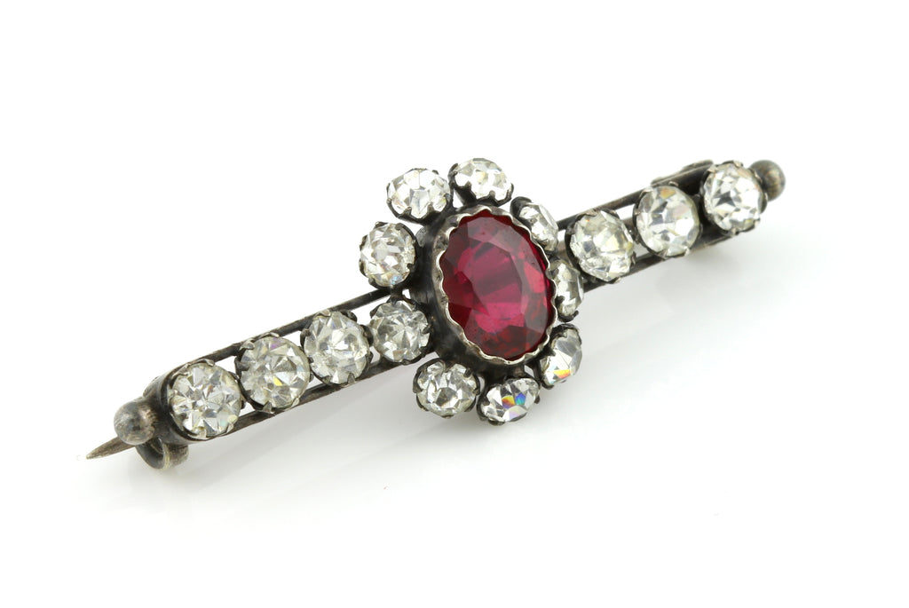 Fine Antique Edwardian Silver Paste Brooch -c.1900