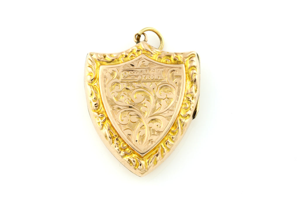 Beautiful Edwardian 9ct Gold Shield Locket -c.1905