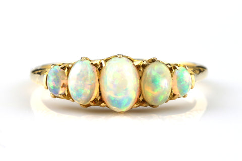 Superb Antique 18ct Gold Opal Ring -c.1900