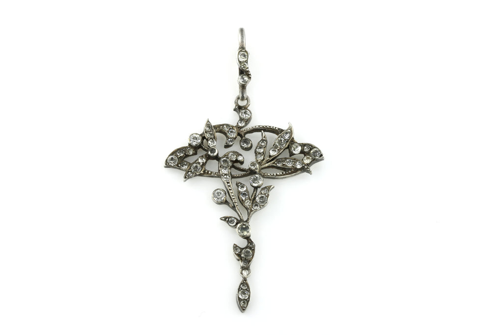 Shimmering Antique Silver Paste Pendant- c.1905
