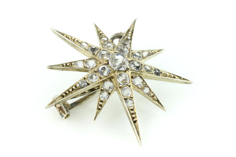Exceptional French Victorian Paste Star Brooch in Sterling Silver c.1850