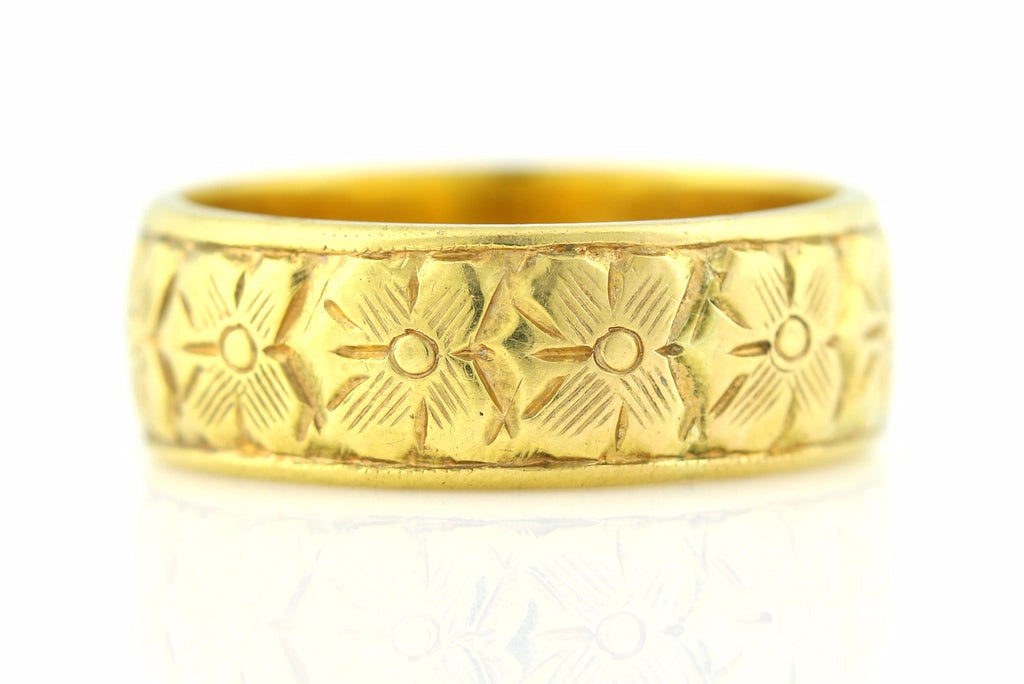 Edwardian Antique 18ct Gold Wedding Band (6mm) c.1907