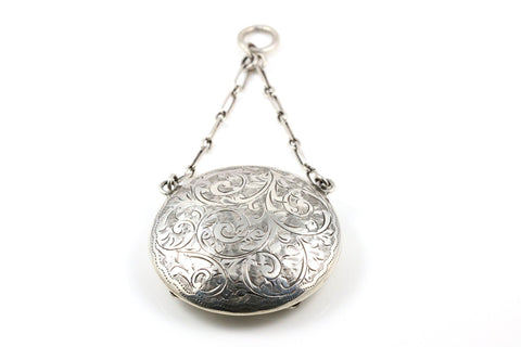Antique Sterling Silver Compact Locket - Circa 1913