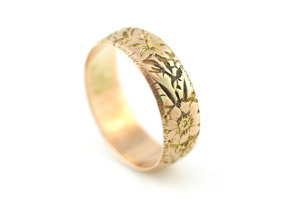 Antique 9ct Rose Gold Wedding Ring, with Flowers -c.1900