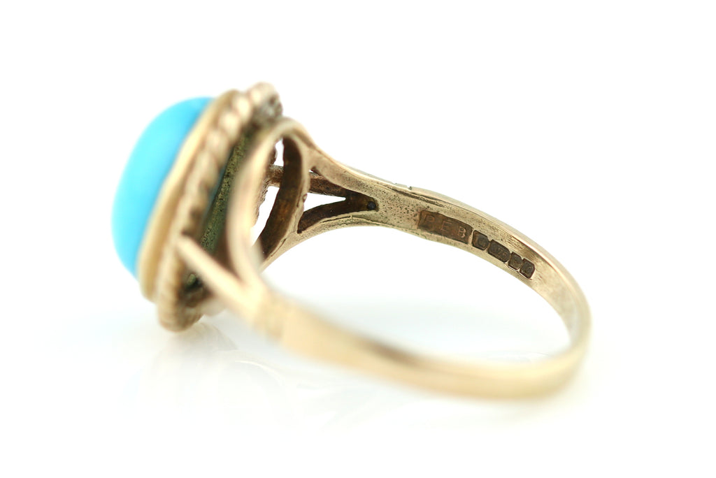 Pretty Vintage 9ct Gold Turquoise Ring -c.1997