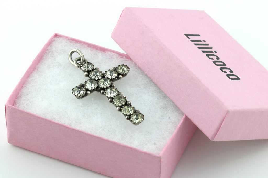 Sterling Silver Victorian Paste Cross Pendant c.1896
