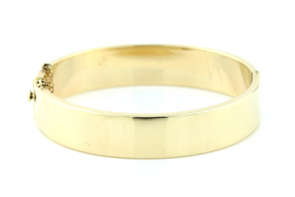 Fine Engraved Vintage 9ct Gold Bangle -c.1960