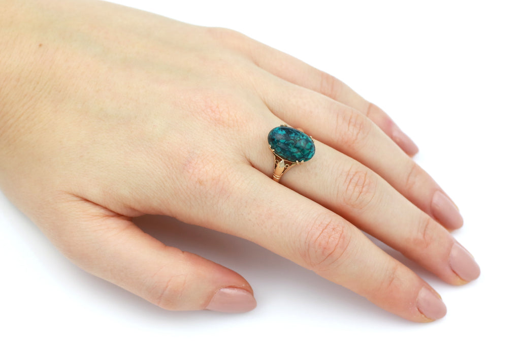 Spectacular Vintage 9ct Gold Turquoise Ring c.1970