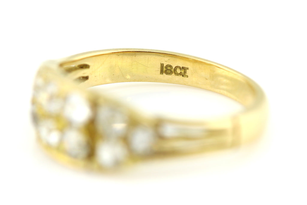 Gorgeous 18ct Gold Old Cut Diamond Wedding Ring -c1950