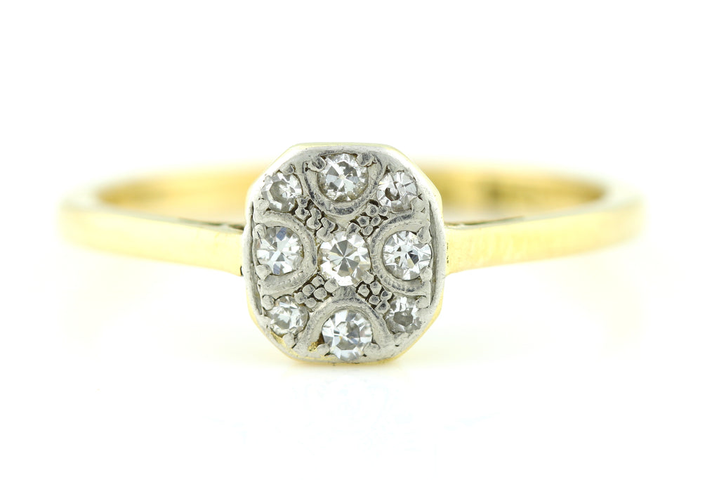 Gorgeous 18ct Gold Art Deco Diamond Cluster Ring, c.1920