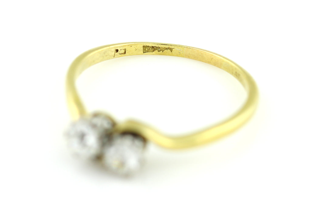 "Art Deco 18ct Gold ""Toi et Moi"" Twin Diamond Ring - Art Deco Diamond Engagement Ring (0.45ct)"
