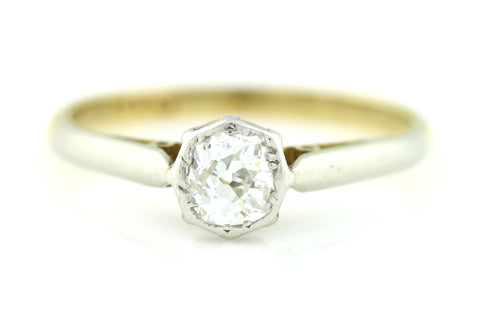 Antique Edwardian 18ct Gold Old European Cut Diamond Ring (0.50ct) c.1905