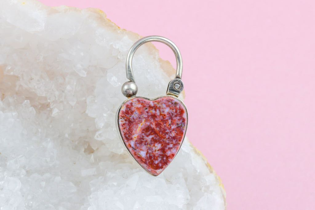 For Hope: Victorian Agate Heart Padlock Charm Pendant