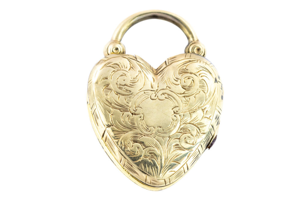 Antique Gold Heart Padlock Locket