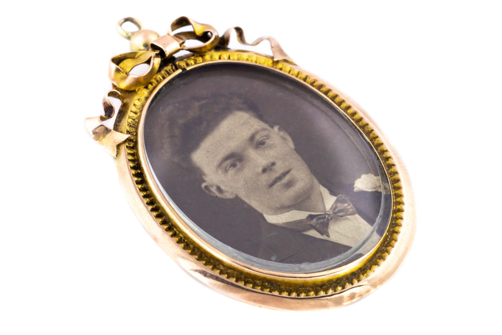 Edwardian Gold Locket with Bow Detail