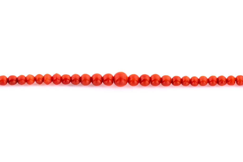 Art Deco Red Coral Beaded Necklace