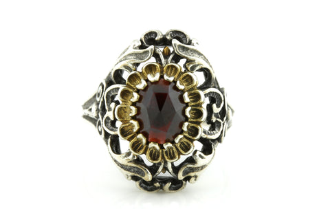 Antique Silver Bohemian Garnet Ring c.1910