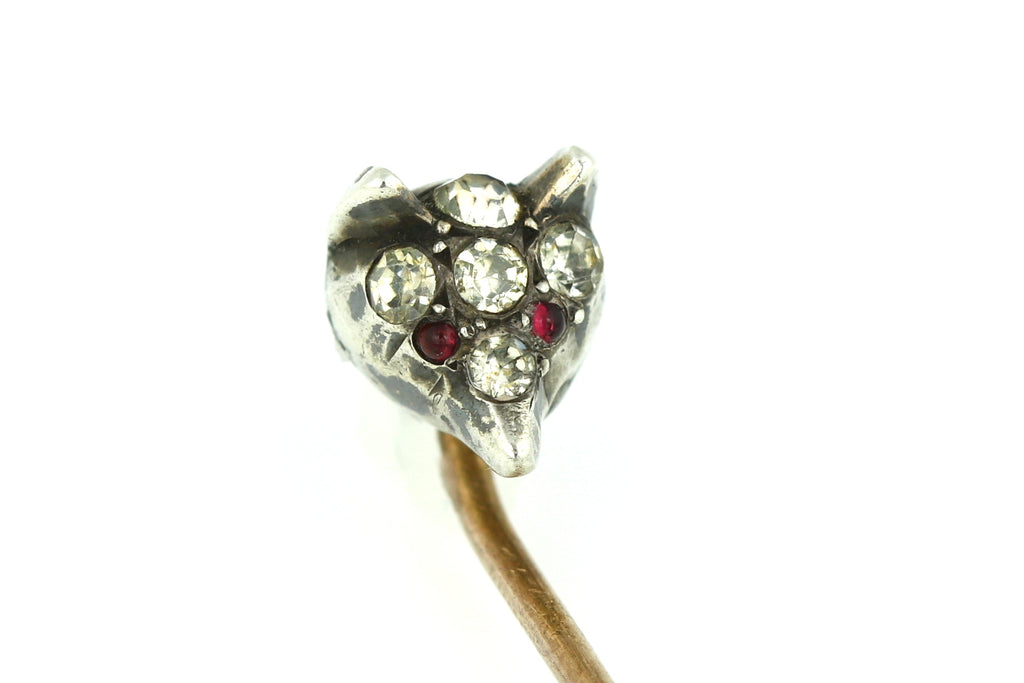 Antique Victorian Silver Paste Stick Pin with Foxes Head c.1880