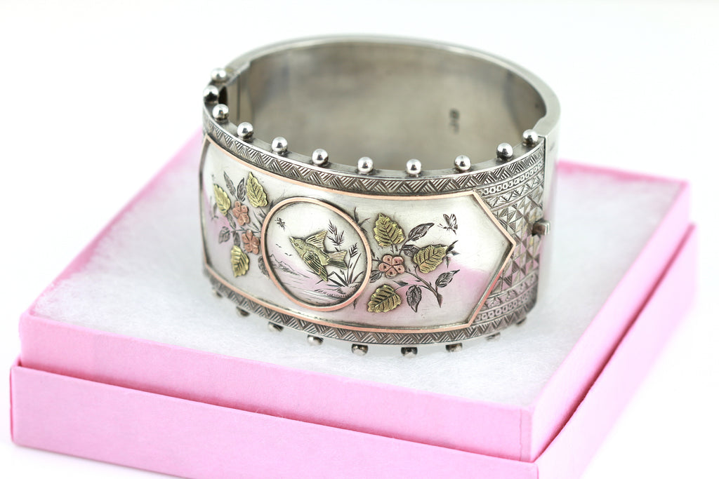 Spectacular Victorian Aesthetic Silver Bangle, Hallmarked 1882