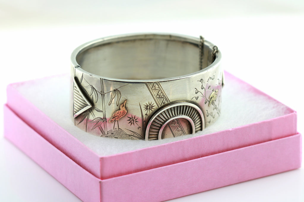 Rare Victorian Aesthetic Silver Bangle with Gold Birds -c.1880