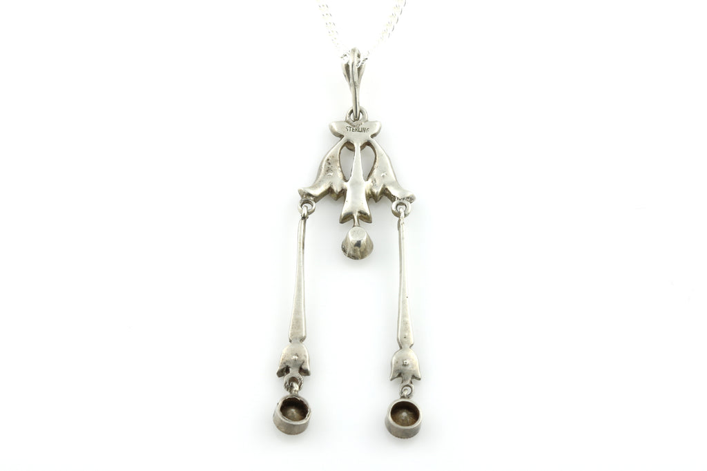 Pretty Edwardian Silver Paste Pendant with Chain c.1905