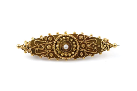 Victorian 9ct Gold Cannetile & Seed Pearl Lozenge Memorial Brooch - Circa 1830