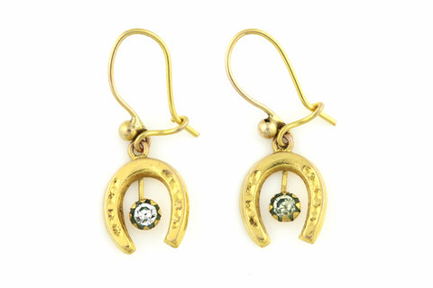 Dainty 9ct Gold Edwardian Horseshoe Earrings -c.1900