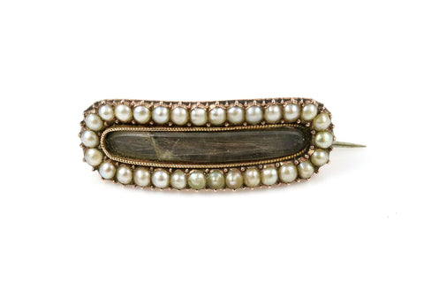 Edwardian 9ct Gold & Seed Pearl Memorial Brooch- Circa 1907