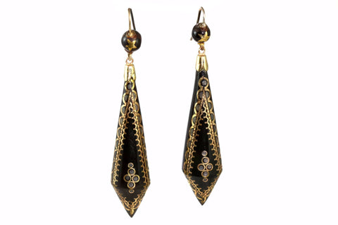 Rare Antique Victorian Tortoiseshell & Gold Pique Earrings - Circa 1880