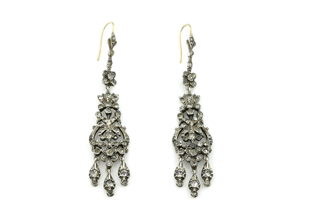 Victorian Silver Paste Chandelier Earrings c.1840