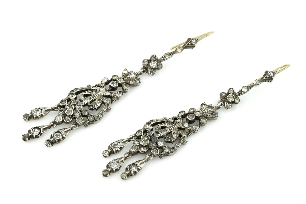 Spectacular Victorian Silver Paste Chandelier Earrings c.1840