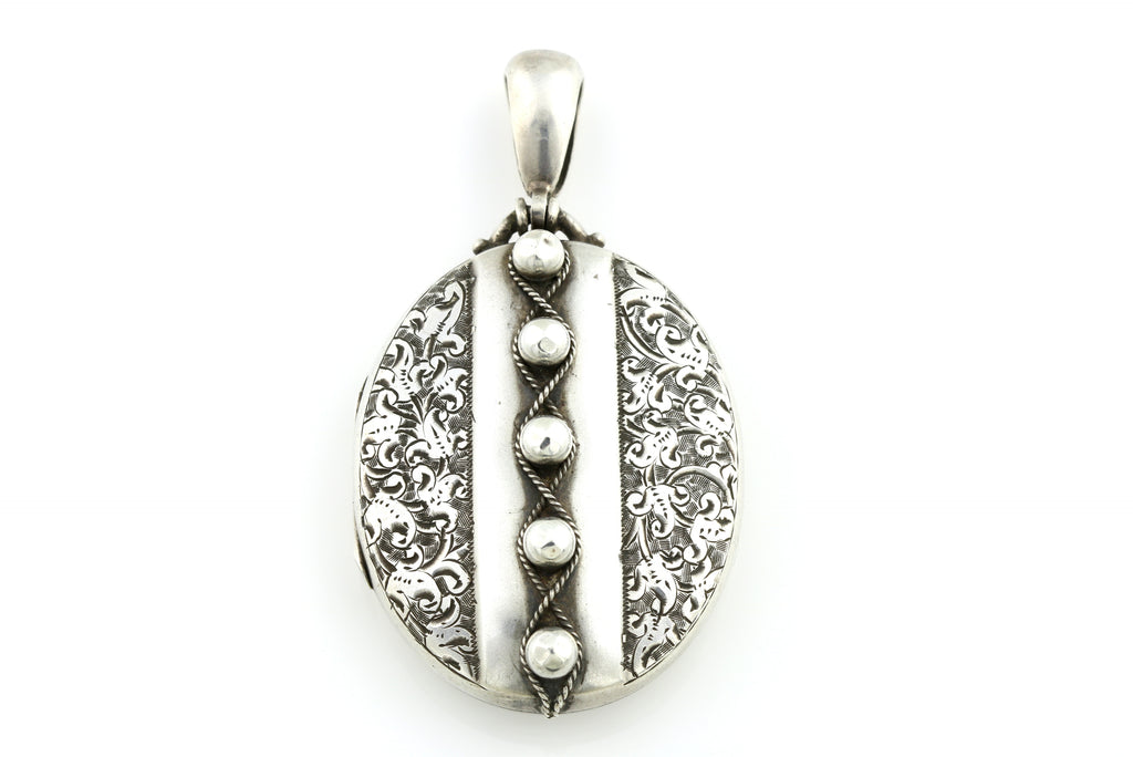 Striking Studded Victorian Silver Locket c.1880