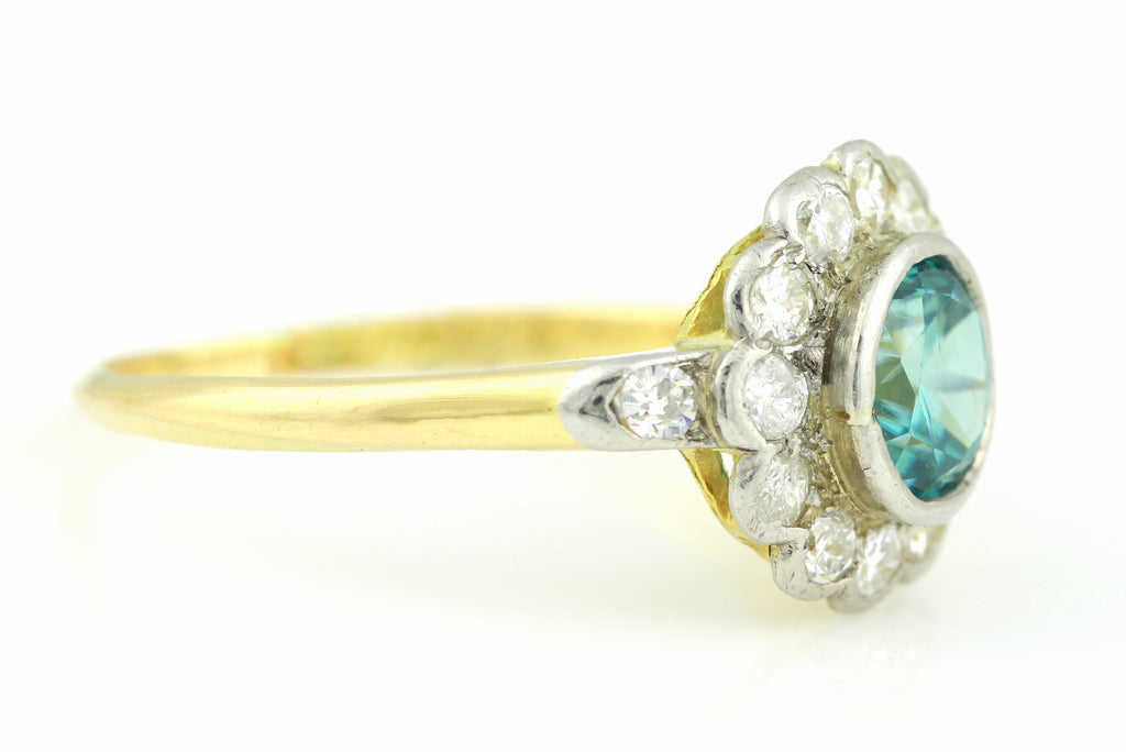 Fine 18ct Gold Edwardian Zircon Diamond Cluster Ring c.1905