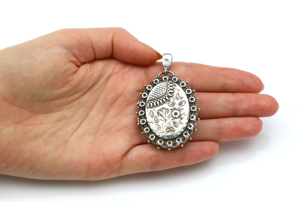 "RESERVED for ""M""! - Gorgeous Antique Victorian Aesthetic Silver Locket- c.1889"