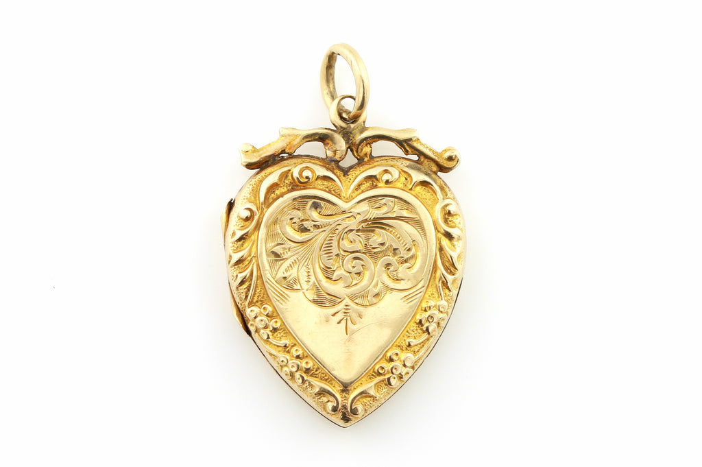 Romantic 9ct Gold Edwardian Heart Locket c.1905