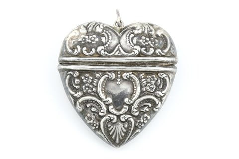 Large Antique Silver Repousse Heart Pendant c.1850