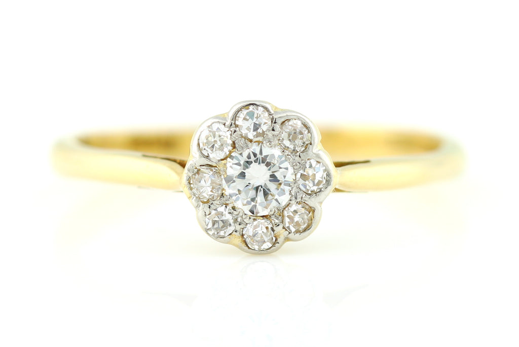 18ct Gold Art Deco Diamond Cluster Engagement Ring c.1920