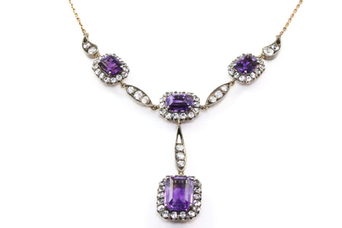 Rare Georgian Amethyst Paste Lavalier Necklace - Circa 1750