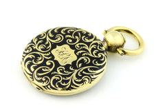 Pristine 15ct Gold Black Enamel Mourning Locket -1852