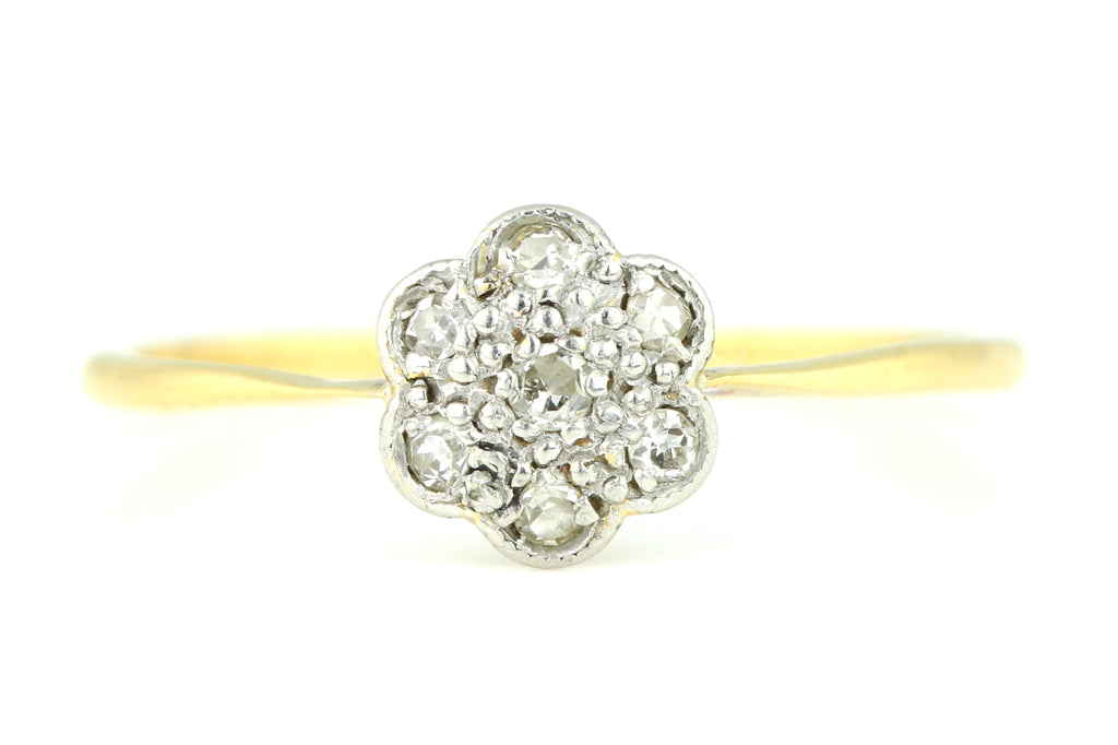 Dainty 18ct Gold Art Deco Diamond Cluster Ring - c.1920