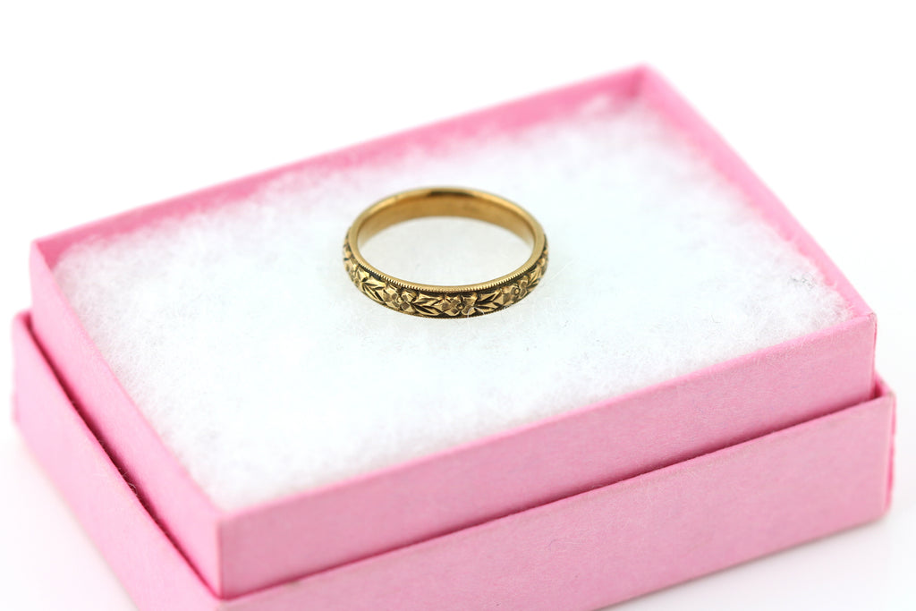 Beautiful Art Deco 9ct Rose Gold Orange Blossom Wedding Ring c.1930