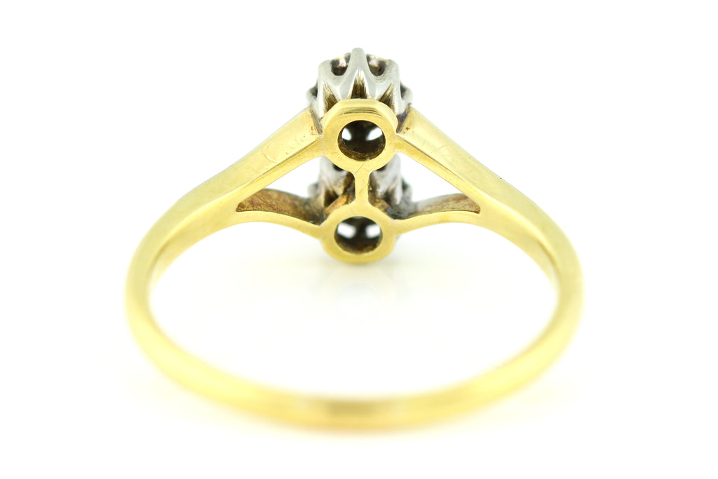 "RESERVED for ""J""!  -Striking 18ct Gold Art Deco Toi et Moi Twin Diamond Ring"