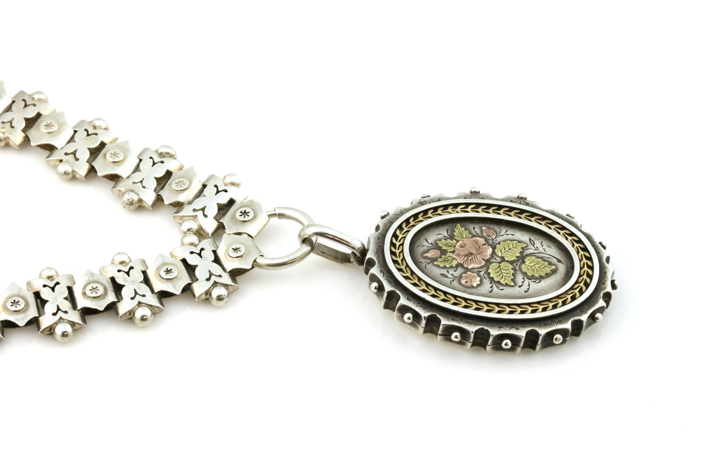 Victorian Aesthetic Silver Book Chain and Locket c.1880