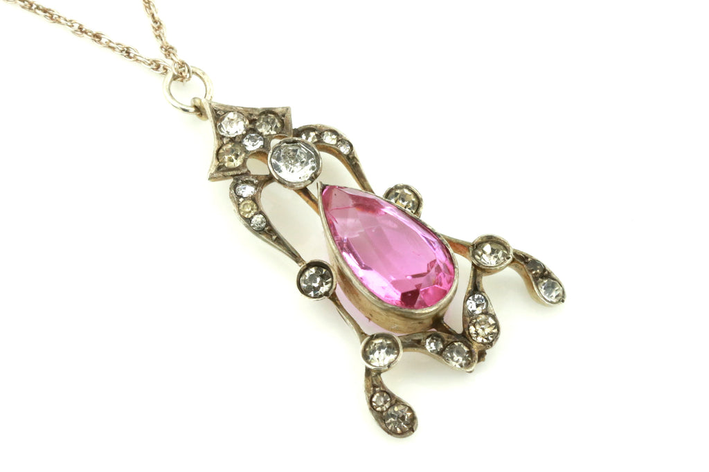 Pretty Pink Edwardian Silver Paste Pendant & Chain c.1905