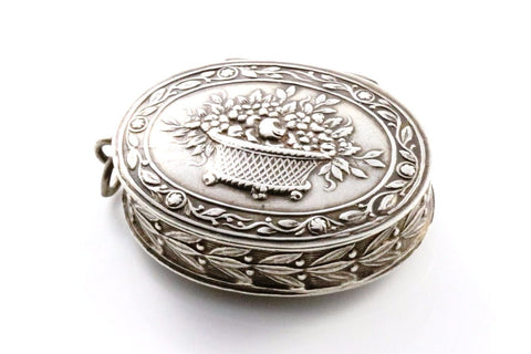 French Silver Antique  Repousse Pill-box Locket- Circa 1900