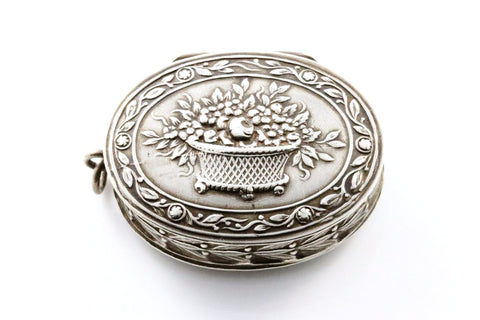 French Silver Antique Repousse Pill-box Locket- Circa 1901