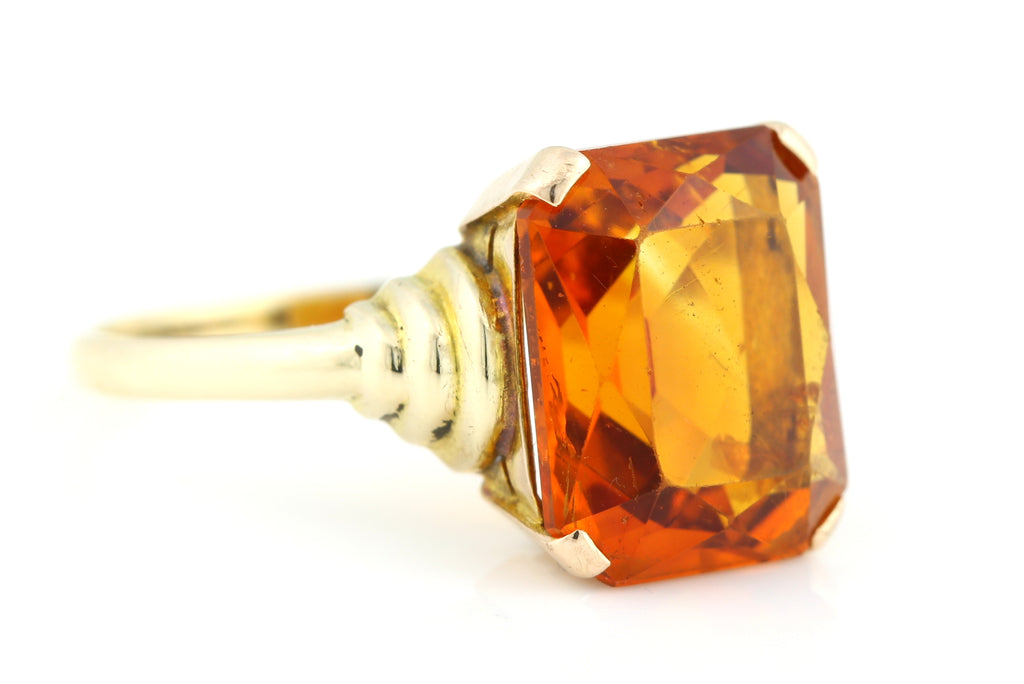 RESERVED -Fabulous Large 9ct Gold Madeira Citrine Cocktail Ring c.1950