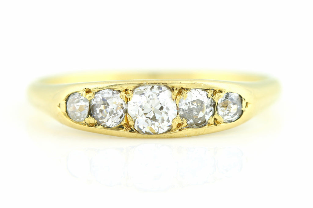 Charming 18ct Gold Antique 5 Stone Diamond Ring (0.35ct) c.1900