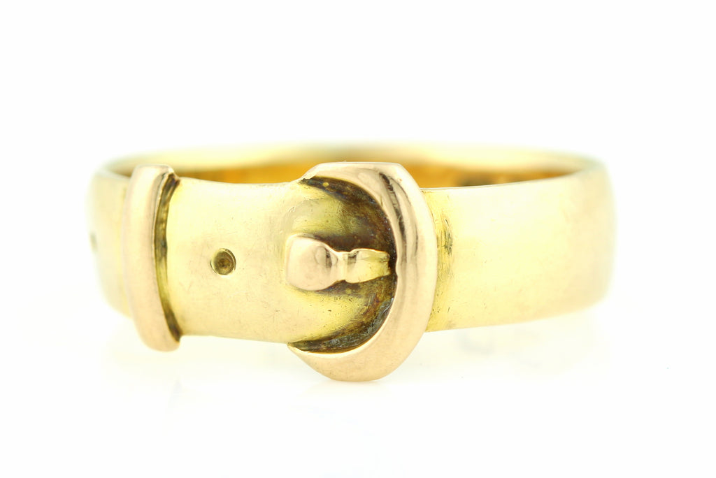 Rare Chester Hallmark Antique 18ct Gold Buckle Ring c.1907