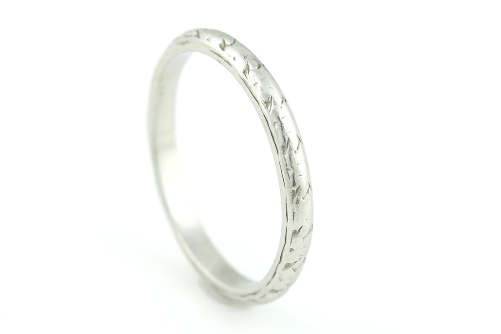 Art Deco Platinum Wedding Ring - 2mm Band